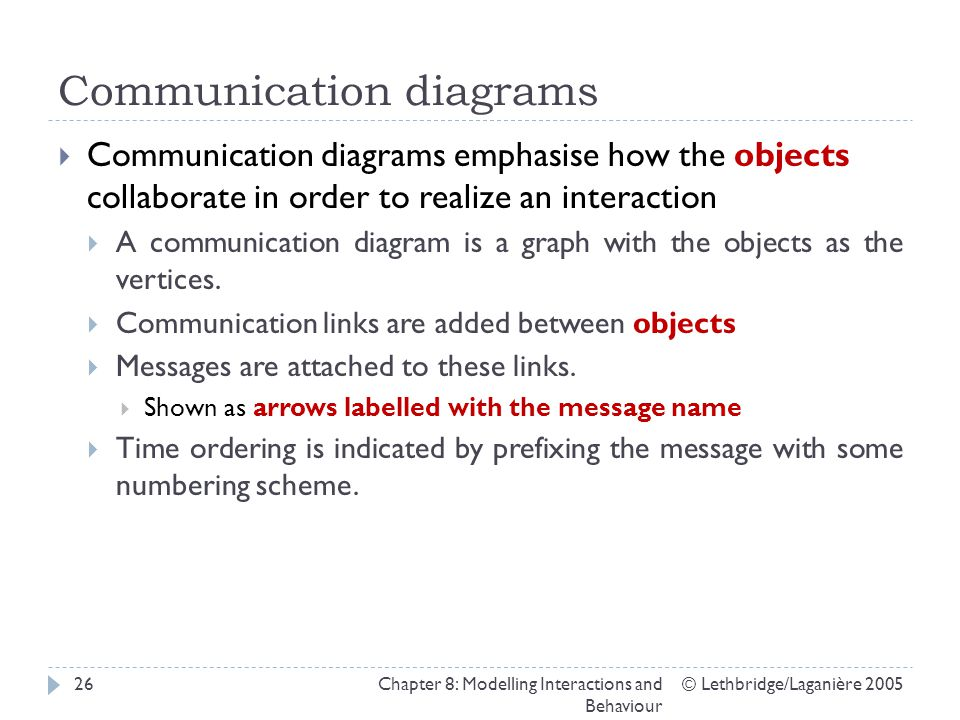 Communication diagrams © Lethbridge/Laganière 2005Chapter 8: Modelling Interactions and Behaviour 26 Communication diagrams emphasise how the objects collaborate in order to realize an interaction A communication diagram is a graph with the objects as the vertices.