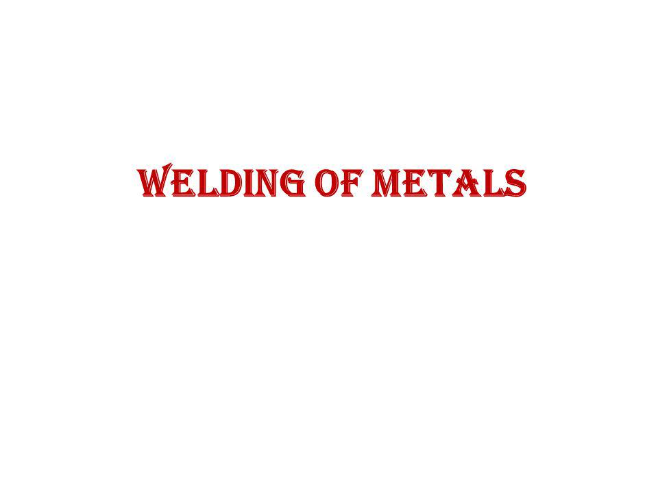 Welding Welding is the process of joining together pieces of metal or metallic parts by bringing them into intimate proximity and heating the place of content to a state of fusion or plasticity