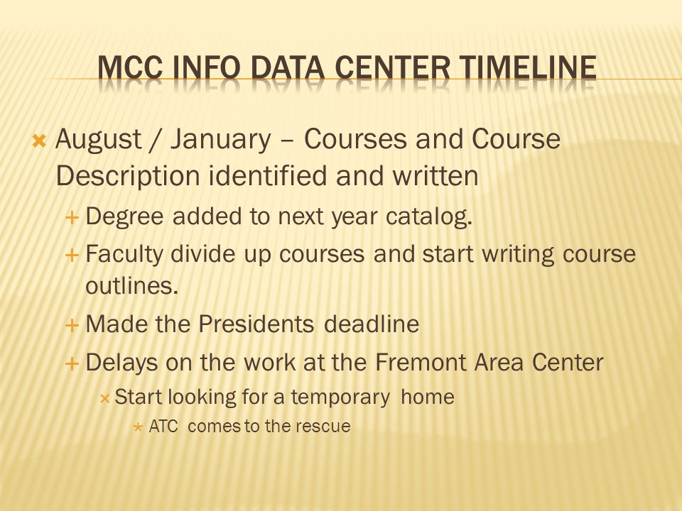 August / January – Courses and Course Description identified and written Degree added to next year catalog. Faculty divide up courses and start writin