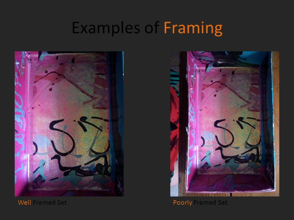 Examples of Framing Well Framed SetPoorly Framed Set
