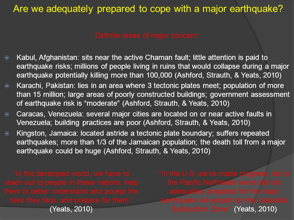 Kabul, Afghanistan: sits near the active Chaman fault; little attention is paid to earthquake risks; millions of people living in ruins that would col