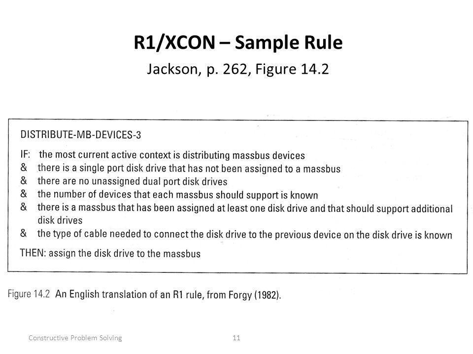 Constructive Problem Solving11 R1/XCON – Sample Rule Jackson, p. 262, Figure 14.2