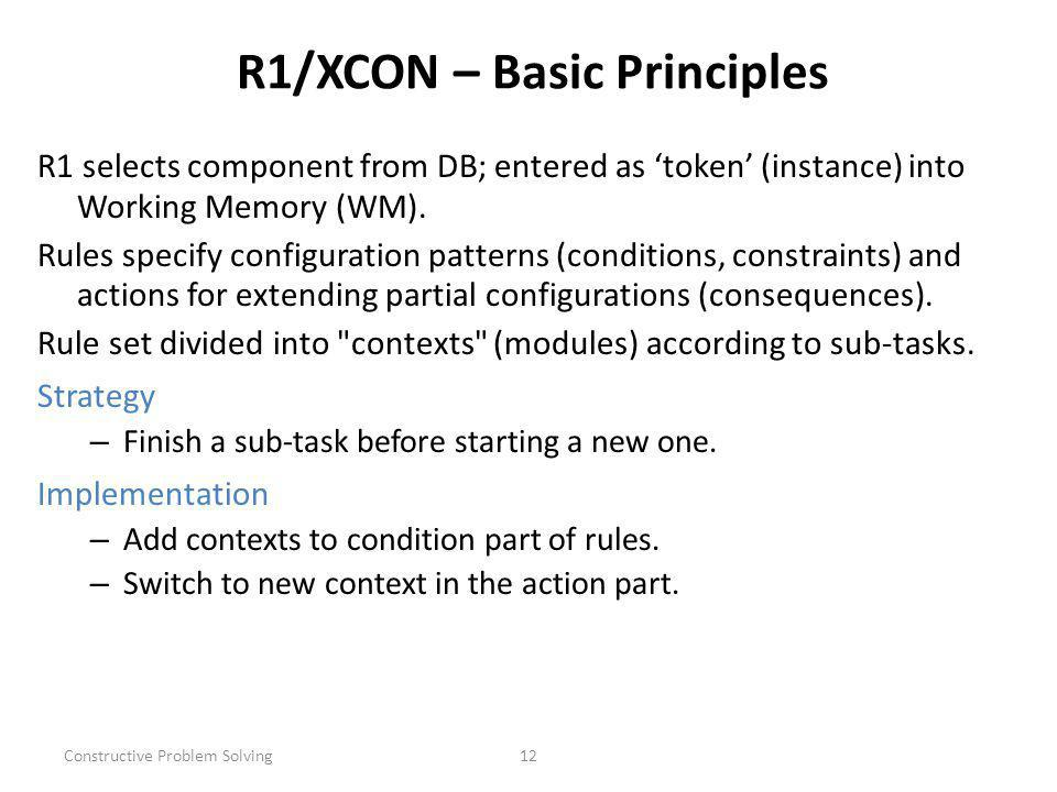 Constructive Problem Solving12 R1/XCON – Basic Principles R1 selects component from DB; entered as token (instance) into Working Memory (WM).