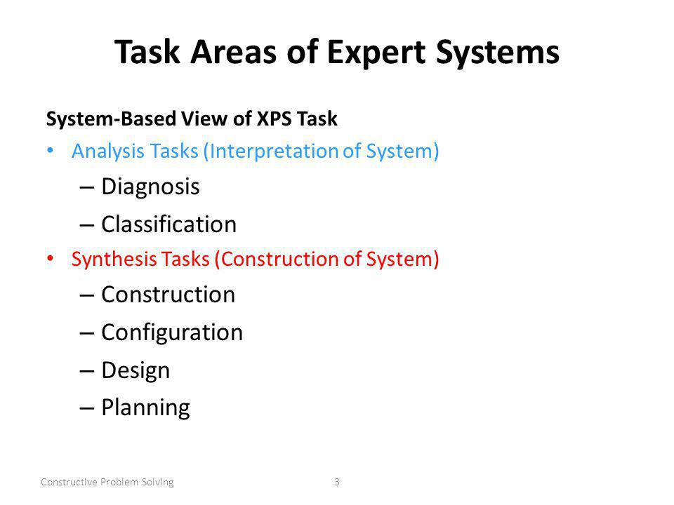 Constructive Problem Solving3 Task Areas of Expert Systems System-Based View of XPS Task Analysis Tasks (Interpretation of System) – Diagnosis – Classification Synthesis Tasks (Construction of System) – Construction – Configuration – Design – Planning