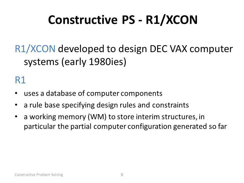 Constructive Problem Solving8 Constructive PS - R1/XCON R1/XCON developed to design DEC VAX computer systems (early 1980ies) R1 uses a database of computer components a rule base specifying design rules and constraints a working memory (WM) to store interim structures, in particular the partial computer configuration generated so far