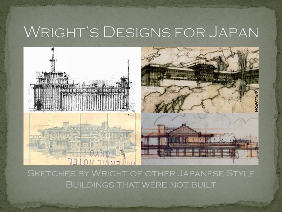 Sketches by Wright of other Japanese Style Buildings that were not built