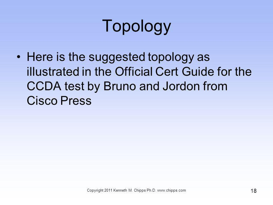 Topology Here is the suggested topology as illustrated in the Official Cert Guide for the CCDA test by Bruno and Jordon from Cisco Press Copyright 2011 Kenneth M.