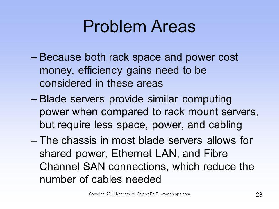 Problem Areas –Because both rack space and power cost money, efficiency gains need to be considered in these areas –Blade servers provide similar computing power when compared to rack mount servers, but require less space, power, and cabling –The chassis in most blade servers allows for shared power, Ethernet LAN, and Fibre Channel SAN connections, which reduce the number of cables needed Copyright 2011 Kenneth M.