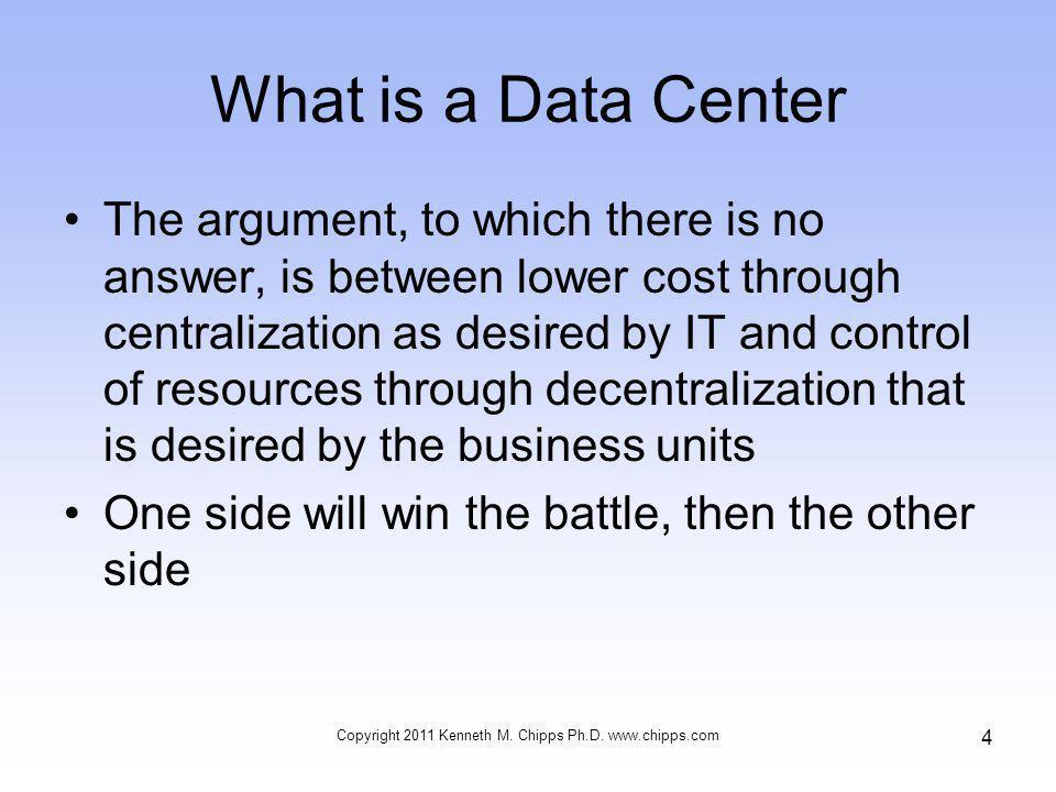 Web Based Data Center Copyright 2011 Kenneth M. Chipps Ph.D. www.chipps.com 15