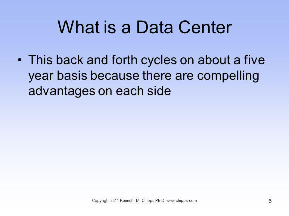 What is a Data Center This back and forth cycles on about a five year basis because there are compelling advantages on each side Copyright 2011 Kenneth M.