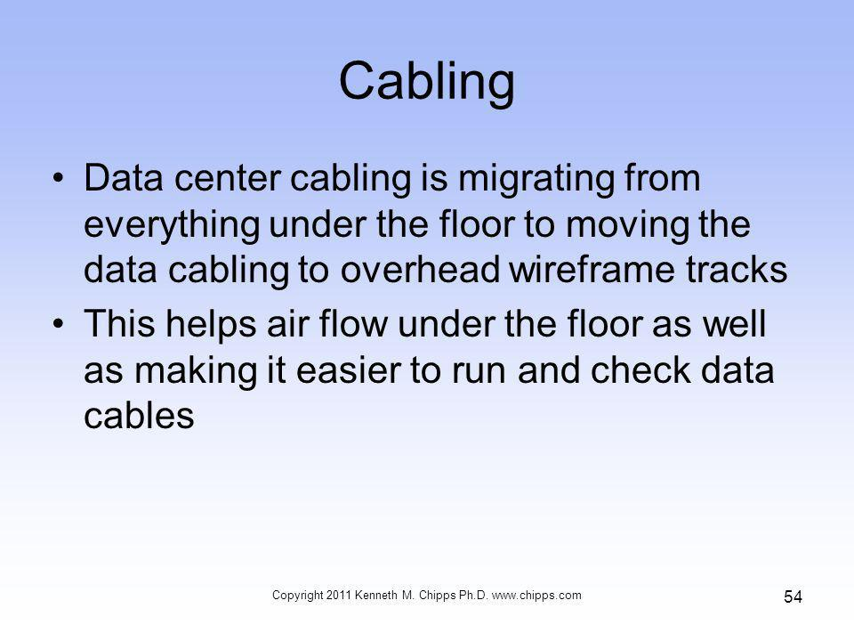Cabling Data center cabling is migrating from everything under the floor to moving the data cabling to overhead wireframe tracks This helps air flow under the floor as well as making it easier to run and check data cables Copyright 2011 Kenneth M.