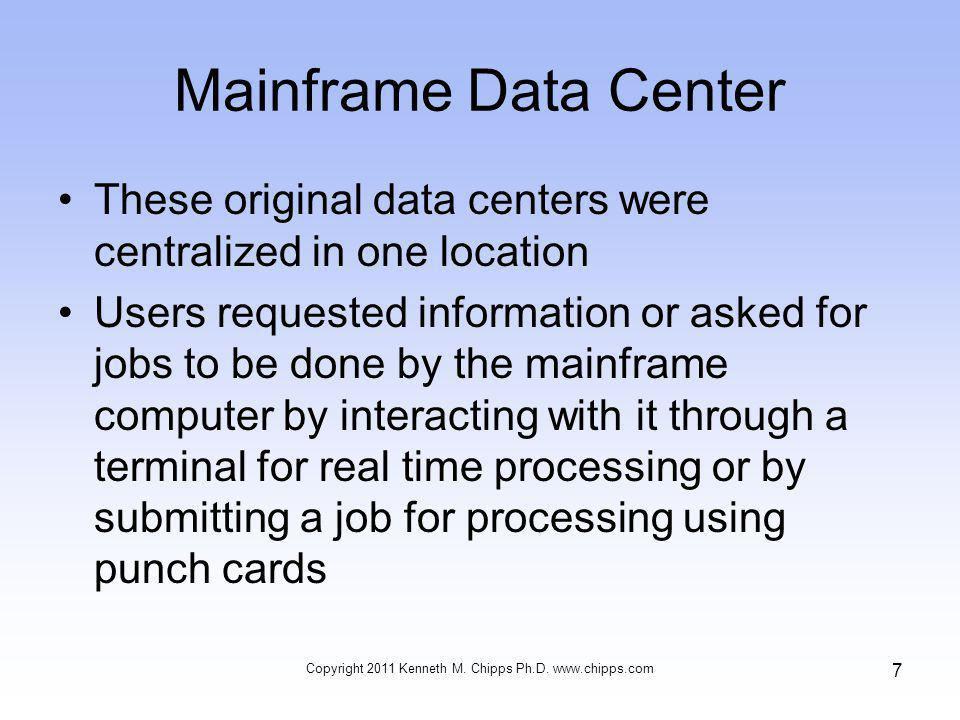 Mainframe Data Center This job processing could be immediate or overnight This type of data center still exists although the method of interaction has moved from terminals and punch cards to PCs The data center format is still used because of its processing power and high availability Copyright 2011 Kenneth M.