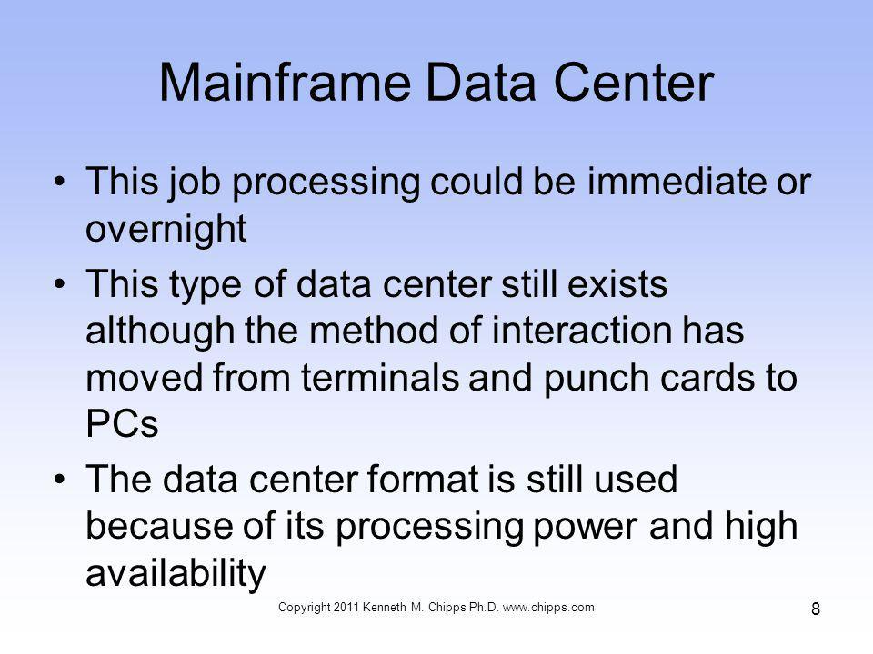 Cooling –Sufficient cooling equipment must be available to produce acceptable temperatures within the data center –The cabinets and racks should be arranged in the data center with an alternating pattern of cold and hot aisles Copyright 2011 Kenneth M.