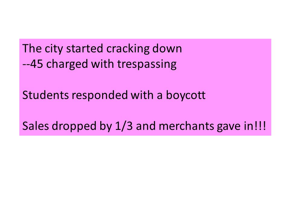 The city started cracking down --45 charged with trespassing Students responded with a boycott Sales dropped by 1/3 and merchants gave in!!!