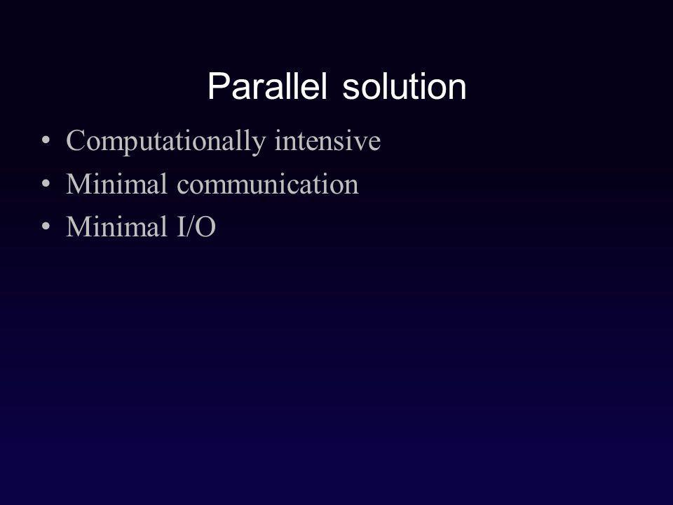 Parallel solution Computationally intensive Minimal communication Minimal I/O