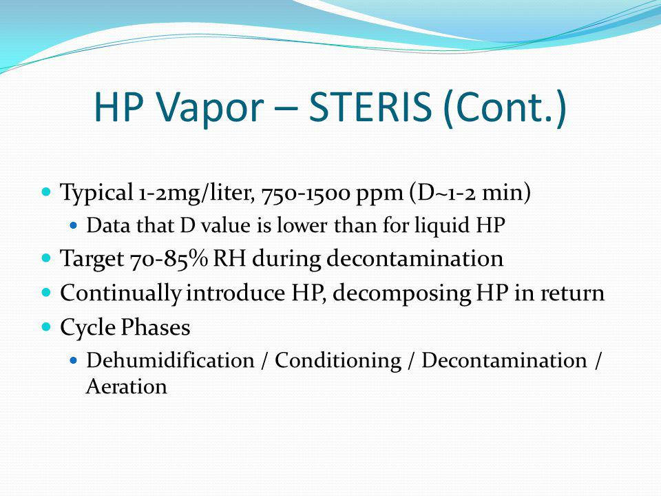 HP Vapor – STERIS (Cont.) Typical 1-2mg/liter, 750-1500 ppm (D~1-2 min) Data that D value is lower than for liquid HP Target 70-85% RH during decontam