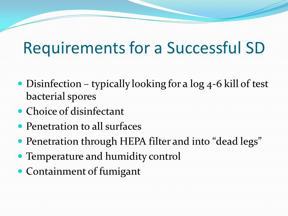 Requirements for a Successful SD Disinfection – typically looking for a log 4-6 kill of test bacterial spores Choice of disinfectant Penetration to al