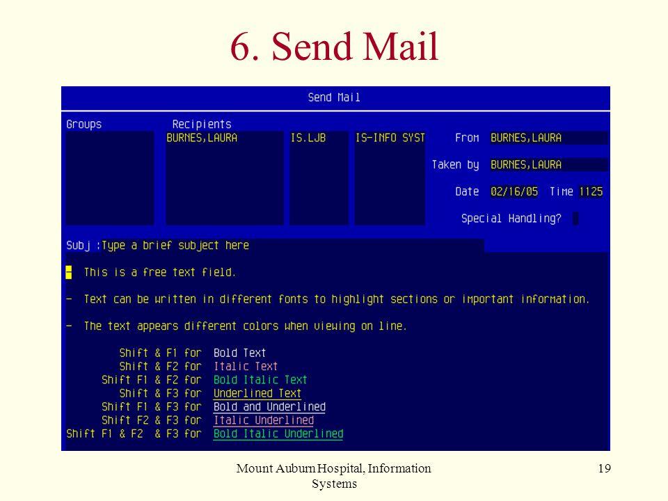 Mount Auburn Hospital, Information Systems 19 6. Send Mail