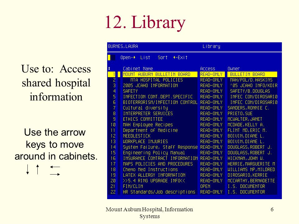 Mount Auburn Hospital, Information Systems 7 11. Yours Use to Manage Your: Cabinets Drawers Files