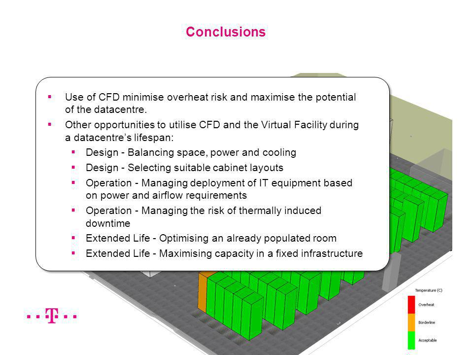 Produced by Future Facilities Ltd 16 Use of CFD minimise overheat risk and maximise the potential of the datacentre. Other opportunities to utilise CF