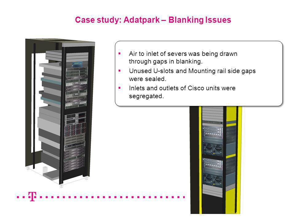 9 Case study: Adatpark – Blanking Issues Air to inlet of severs was being drawn through gaps in blanking. Unused U-slots and Mounting rail side gaps w