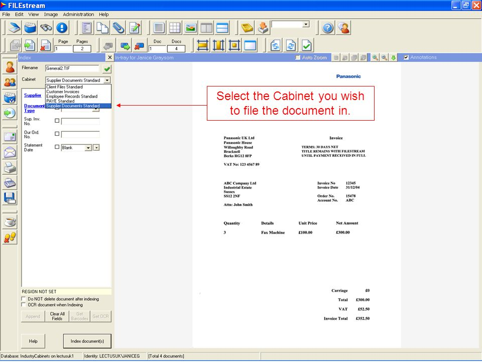 Click here to file the document - it is moved from the in-tray to the cabinet folder.
