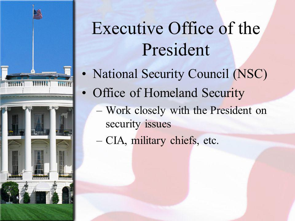 Executive Office of the President National Security Council (NSC) Office of Homeland Security –Work closely with the President on security issues –CIA