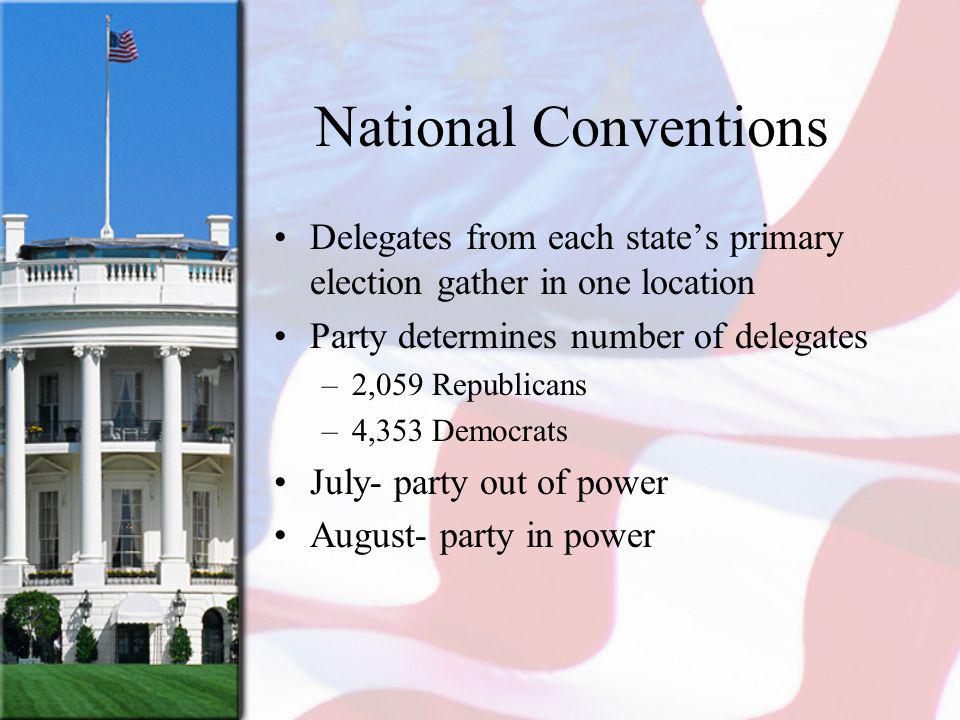National Conventions Delegates from each states primary election gather in one location Party determines number of delegates –2,059 Republicans –4,353 Democrats July- party out of power August- party in power