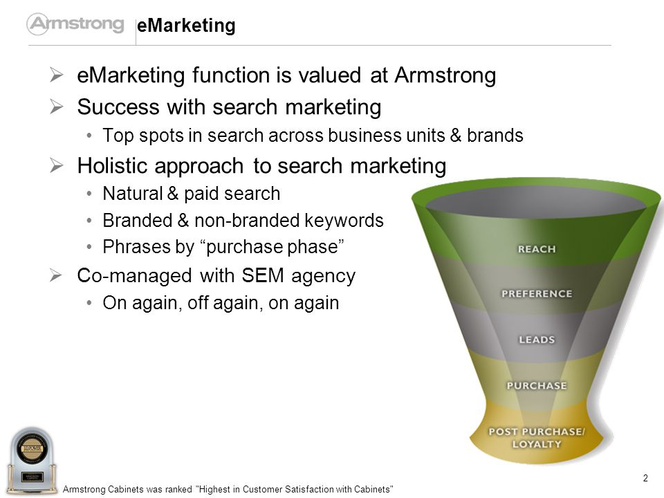 2 Armstrong Cabinets was ranked Highest in Customer Satisfaction with Cabinets eMarketing eMarketing function is valued at Armstrong Success with search marketing Top spots in search across business units & brands Holistic approach to search marketing Natural & paid search Branded & non-branded keywords Phrases by purchase phase Co-managed with SEM agency On again, off again, on again