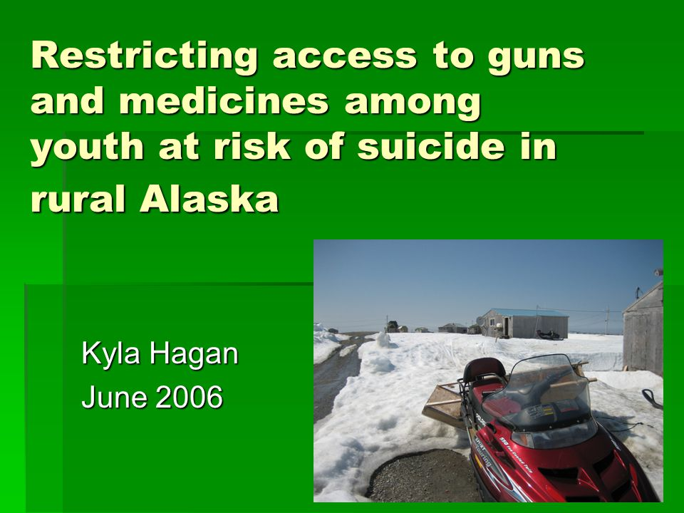 Suicide among Alaska Native Youth Suicide Completions, 15-19 years, 1999-2003 Leading cause of death for Alaska Natives (AN), 15-24 years Leading cause of death for Alaska Natives (AN), 15-24 years AN suicide death rate 6 times white rate (101.9 vs.