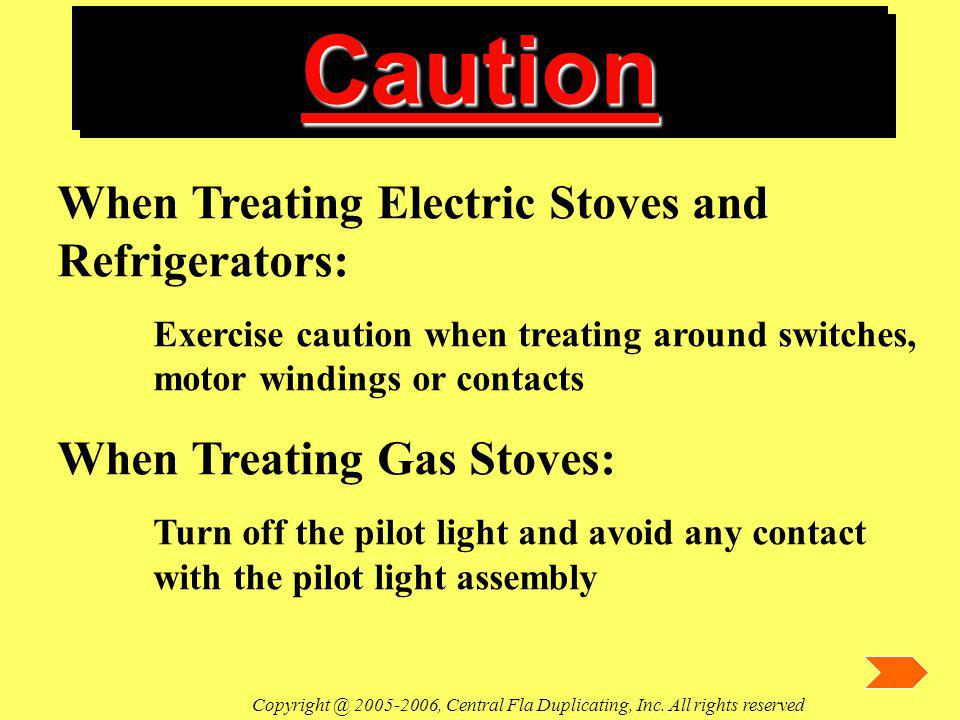 CautionCaution When Treating Electric Stoves and Refrigerators: Exercise caution when treating around switches, motor windings or contacts When Treati