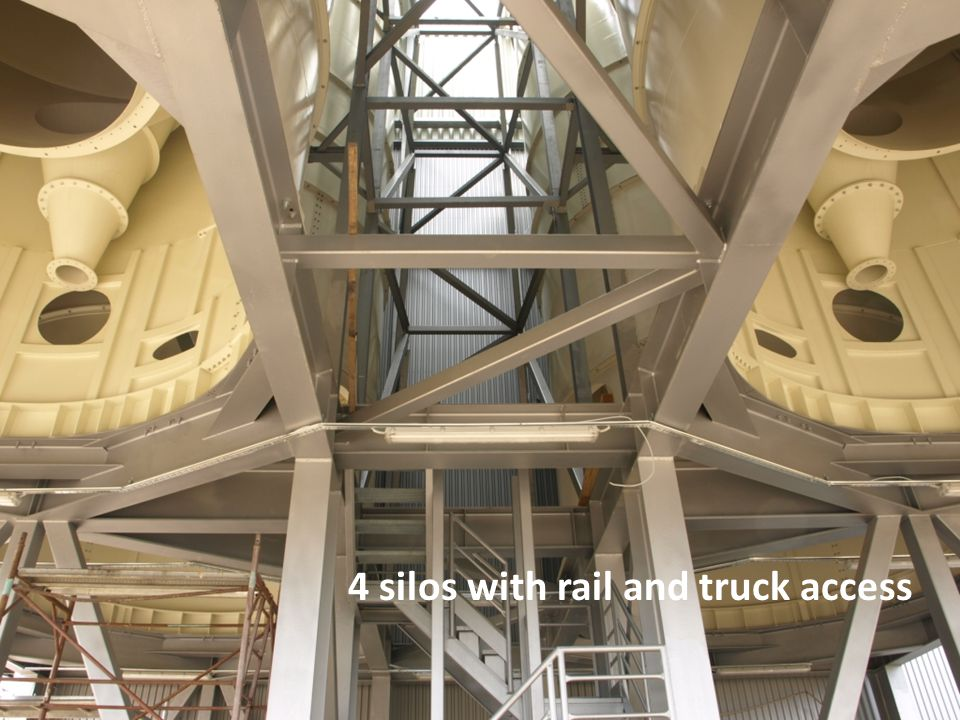 4 silos with rail and truck access