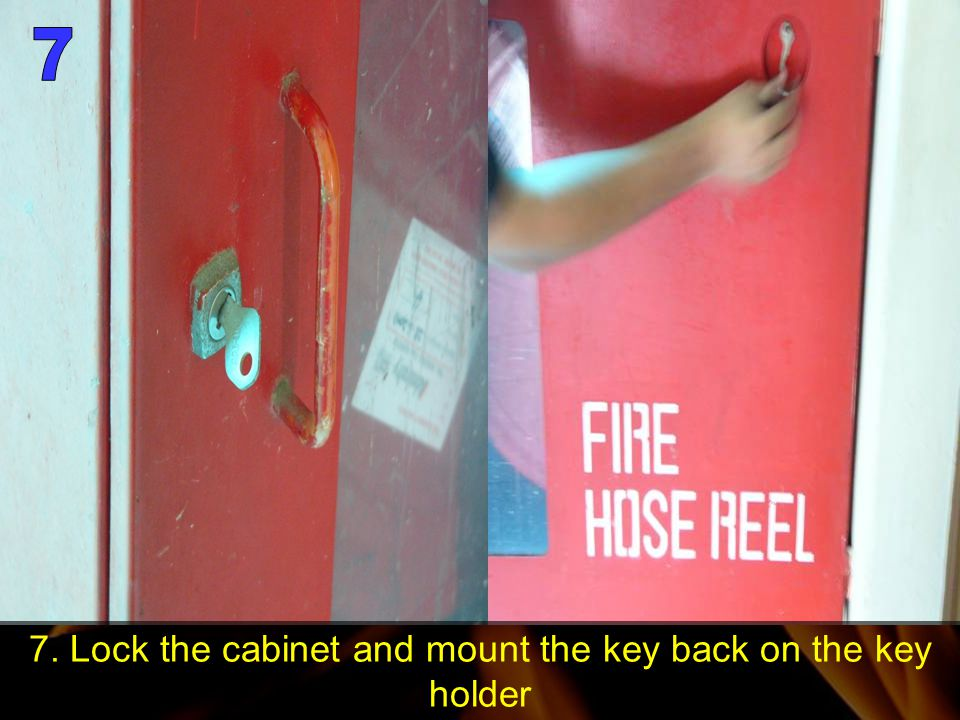 7. Lock the cabinet and mount the key back on the key holder