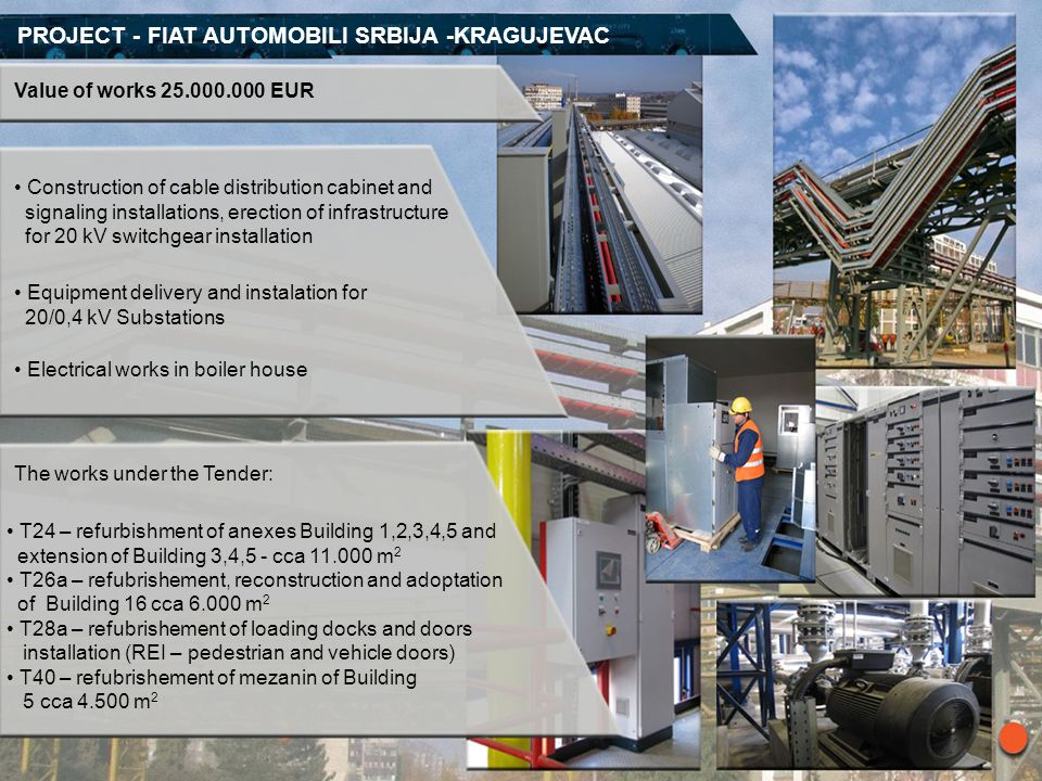 PROJECT - FIAT AUTOMOBILI SRBIJA -KRAGUJEVAC Value of works 25.000.000 EUR Construction of cable distribution cabinet and signaling installations, ere
