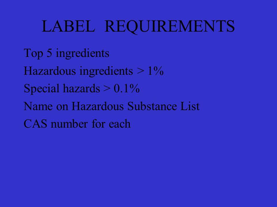 LABEL REQUIREMENTS Top 5 ingredients Hazardous ingredients > 1% Special hazards > 0.1% Name on Hazardous Substance List CAS number for each