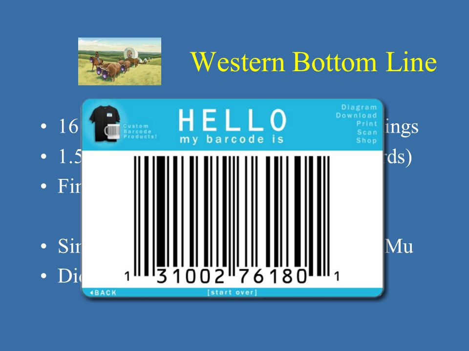 16 months, vacating 8 rooms in 2 buildings 1.5 million objects (230,000 EMu records) Find, document, conserve, pack, move Simplified barcoding functionality w/EMu Did not slow down physical workflow Western Bottom Line