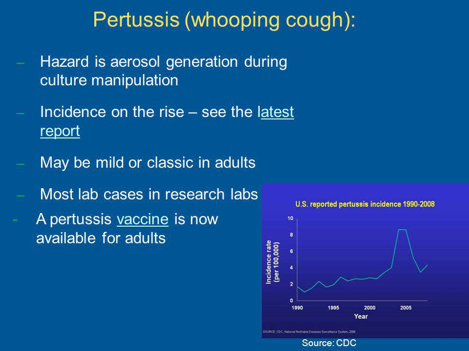 Pertussis (whooping cough): – Hazard is aerosol generation during culture manipulation – Incidence on the rise – see the latest reportatest report – May be mild or classic in adults – Most lab cases in research labs Source: CDC -A pertussis vaccine is now available for adultsvaccine
