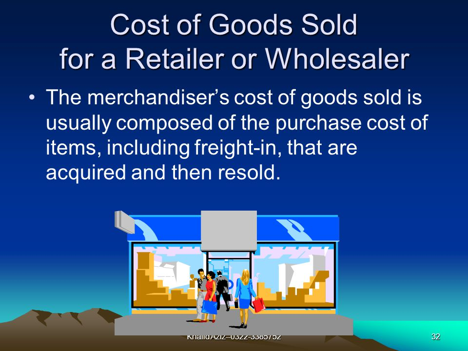 Khalid Aziz--0322-338575231 Cost of Goods Sold for a Manufacturer The manufacturers cost of goods produced and then sold is usually composed of the three major categories of cost: 1Direct materials 2Direct labor 3Indirect manufacturing