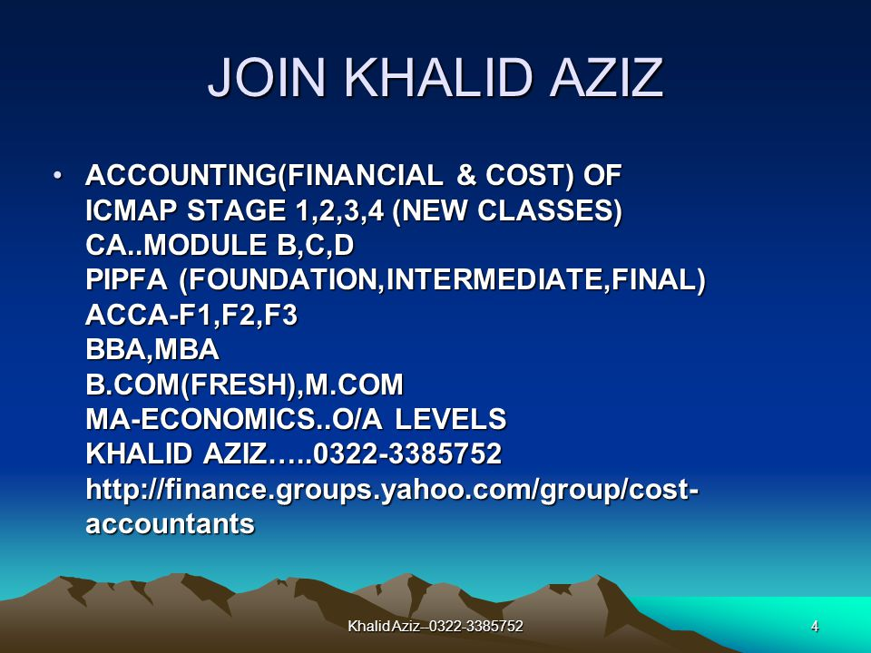 Khalid Aziz--0322-33857523 JOIN KHALID AZIZ FRESH CLASSES OF B.COM 1 & 2 ALL IMPORTANT SUBJECTS COMPLETION OF SYLLABUS JOIN NOW