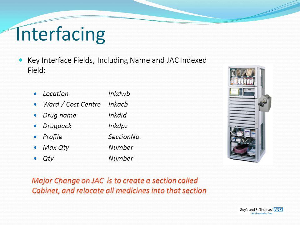Interfacing Key Interface Fields, Including Name and JAC Indexed Field: Locationlnkdwb Ward / Cost Centrelnkacb Drug namelnkdid Drugpacklnkdpz Profile