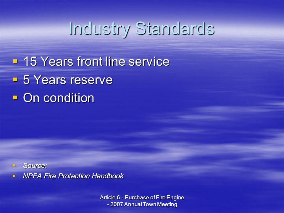 Article 6 - Purchase of Fire Engine - 2007 Annual Town Meeting Industry Standards 15 Years front line service 15 Years front line service 5 Years rese