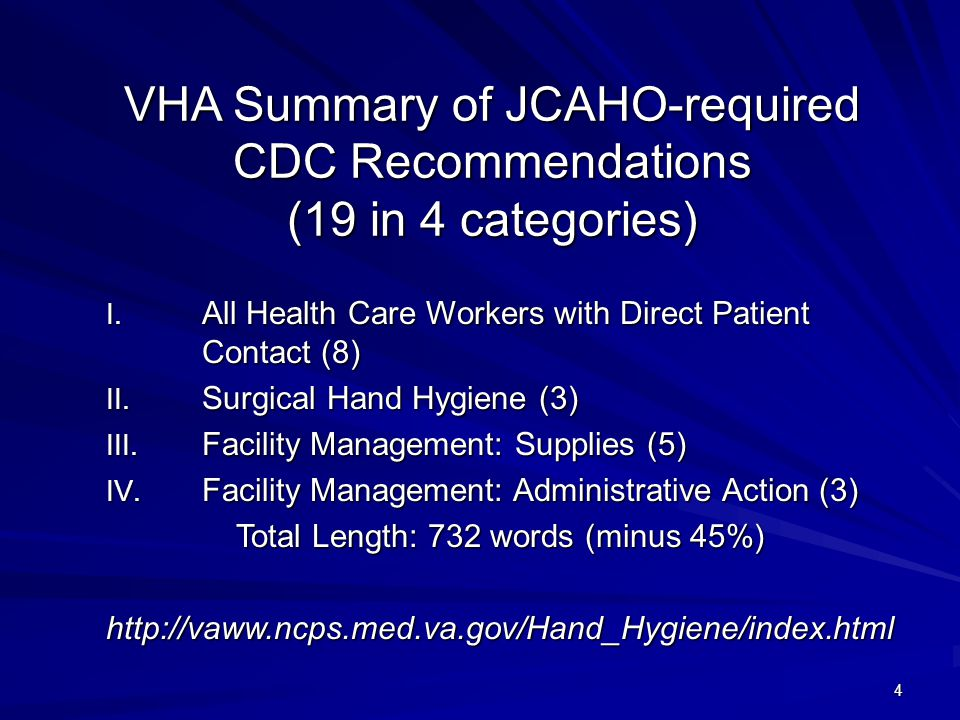 4 VHA Summary of JCAHO-required CDC Recommendations (19 in 4 categories) I.