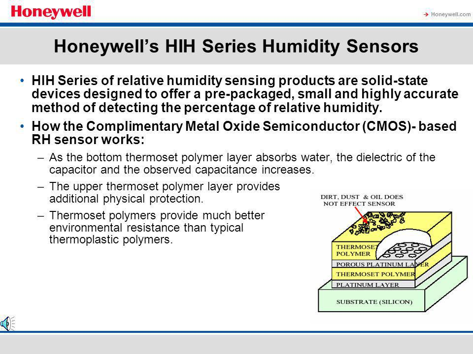 Honeywell.com Four types of humidity sensors –Capacitive: The best RH sensor; low cost –Resistive: Lowest cost; declining market share –Tin oxide: Poo