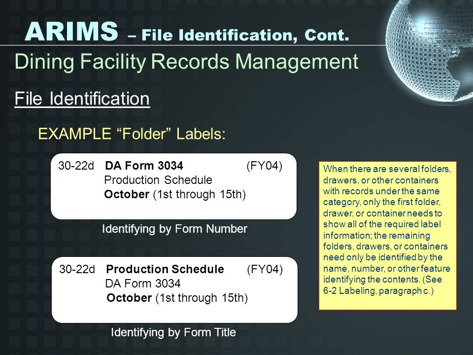 ARIMS – File Identification, Cont. Dining Facility Records Management File Identification EXAMPLE Folder Labels: Identifying by Form Number 30-22d DA