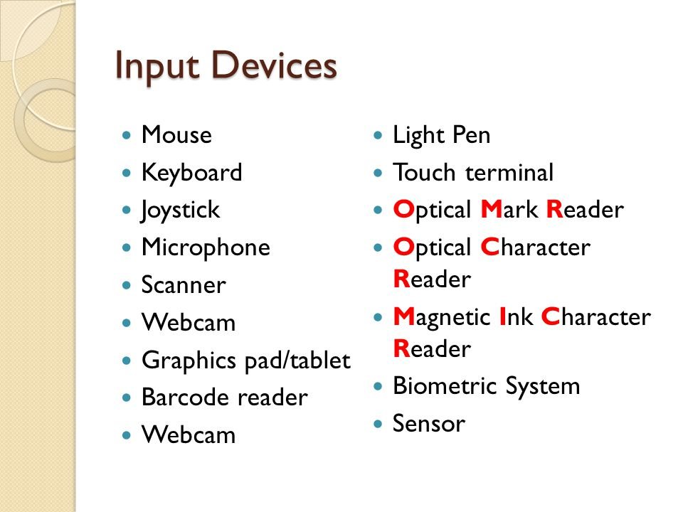 Input Devices Mouse Keyboard Joystick Microphone Scanner Webcam Graphics pad/tablet Barcode reader Webcam Light Pen Touch terminal Optical Mark Reader