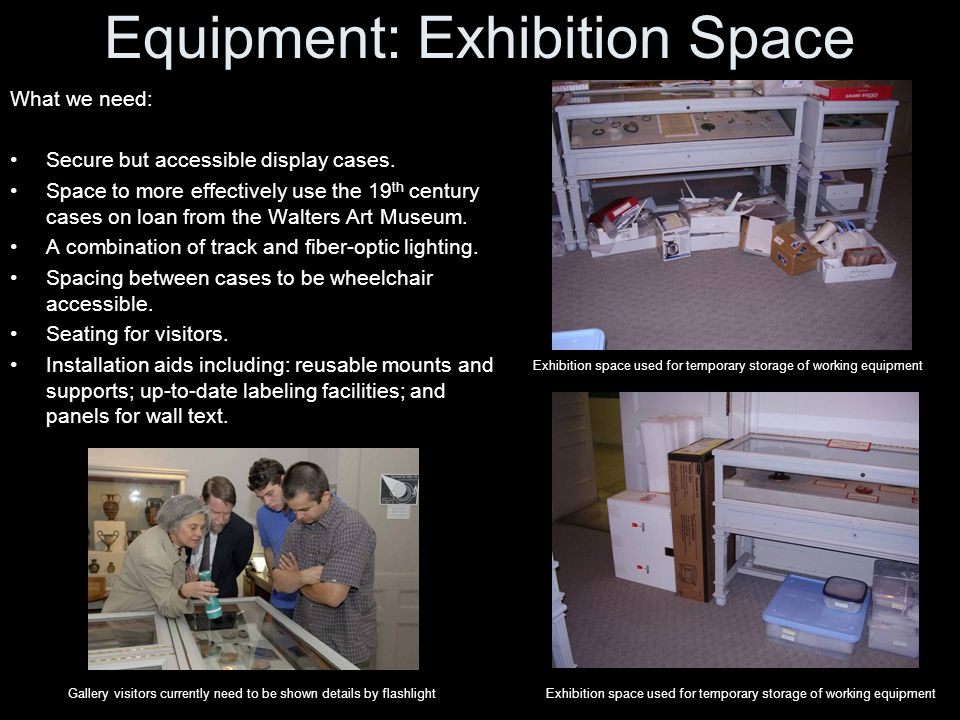 Equipment: Exhibition Space What we need: Secure but accessible display cases.