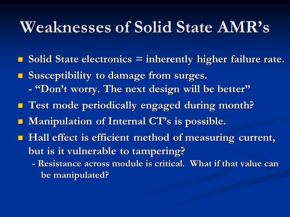 Weaknesses of Solid State AMRs Solid State electronics = inherently higher failure rate. Solid State electronics = inherently higher failure rate. Sus