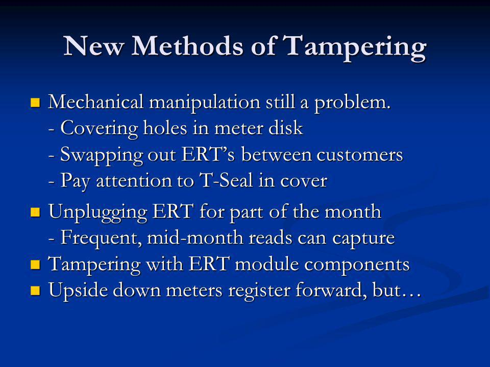 New Methods of Tampering Mechanical manipulation still a problem.