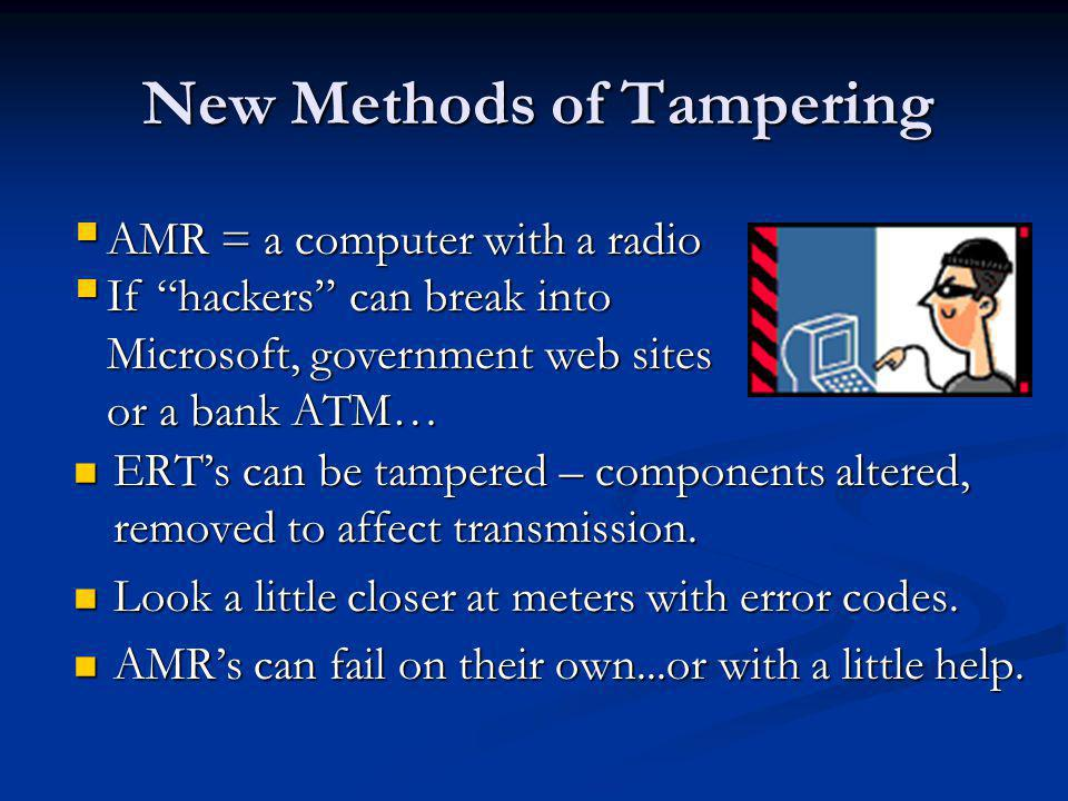 New Methods of Tampering ERTs can be tampered – components altered, removed to affect transmission.