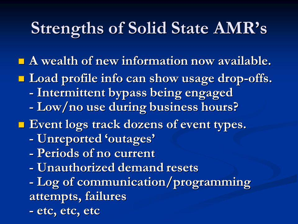 Strengths of Solid State AMRs Manual demand reset/ test mode activation can be locked out.